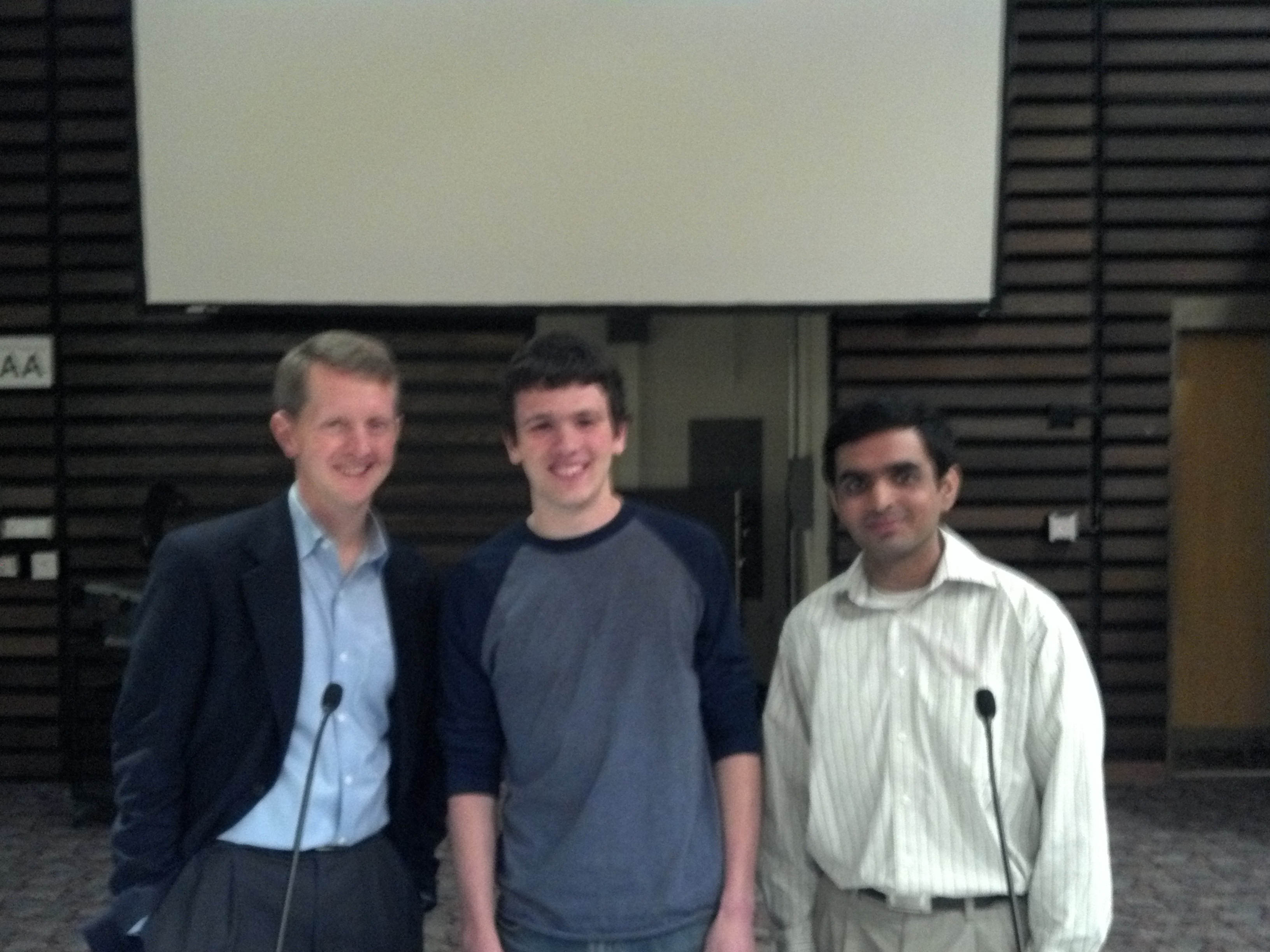 Left to right: Ken Jennings, Vice President Aaron Cohen, and President Nimit Dhulekar